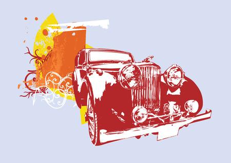 Vector Illustration de la vieille coutume de collection vintage voiture