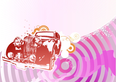 collectors: Vector Illustration of old vintage custom collectors car on glamour background