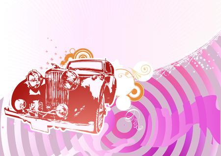 cobradores: Vector Ilustraci�n de la vieja costumbre de �poca de autom�viles de colecci�n en el glamour de fondo