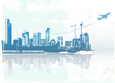 Big City  -  Grunge styled urban background.  Vector illustration.  Vector