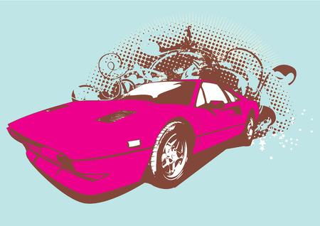 Vector Illustration of old vintage custom collectors car on grunge background .     Illustration