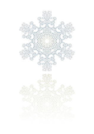 icicle:  Decorative Snowflake Ornament with reflection . Vector illustration.