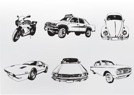 Silhouette automobili. Illustrazione vettoriale di vecchi vintage personalizzato raccoglitore delle auto e moto