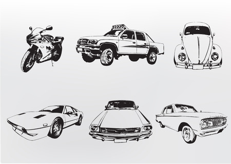 driving a car: Silhouette coches. Ilustraci�n vectorial de la cosecha vieja costumbre de coleccionista de motocicletas y autom�viles  Vectores