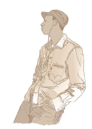intense: Uomo di ascoltare la musica in cuffia. Illustrazione vettoriale. Vettoriali