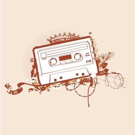 graffiti brown: Cinta de cassette estarcido. Ilustraci�n vectorial  Vectores
