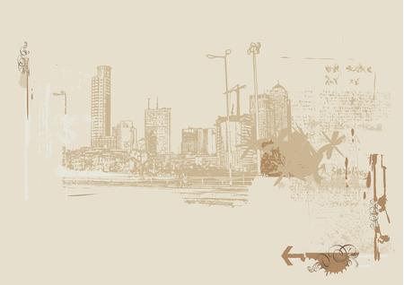 Big City  -  Grunge styled urban background.  Vector illustration. Stock Vector - 2111481