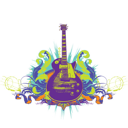 예행 연습: Guitar on the  grunge background. Vector illustration.