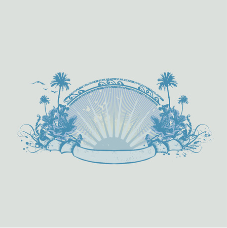 tropical frame: Vector insignia and banner. Surice on the tropical ocean coast. Grunge style Illustration