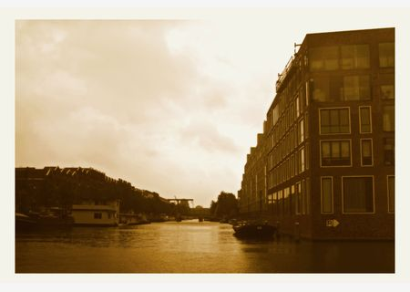 Channels of Amsterdam in twilight  photo