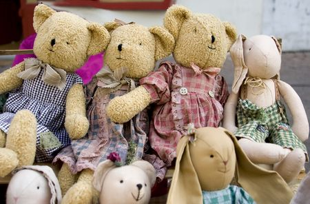 soft object: Old Teddy bears and other old toys
