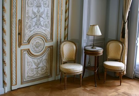 castle interior: Antique seats in Villa Ephrussi de Rothschild