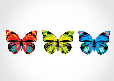 Vector illustration - Set of  Beautiful Brightly multicolored butterflies Vector