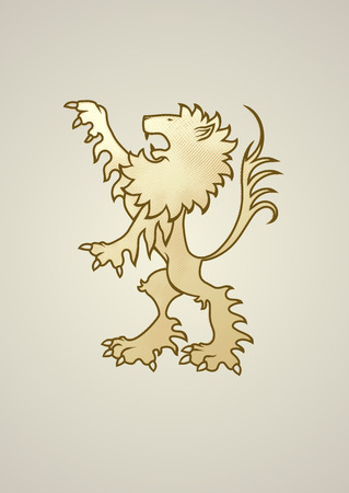 awe: Ancient coat of arms lion. Looks great standing alone or holding something. Copypastereflect and 2 lions can be holding a banner. Illustration
