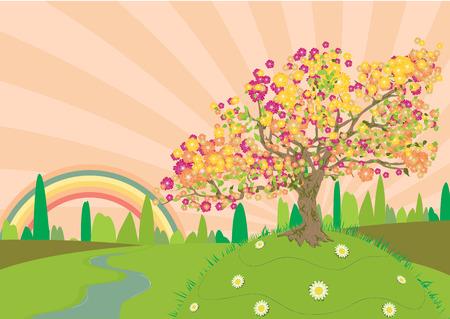 the end of a rainbow: Trail a trav�s de las zonas rurales en verano con un arco iris al final