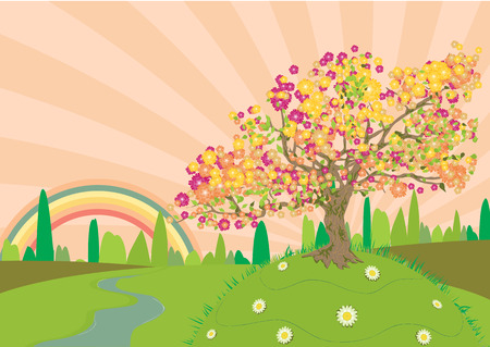 Trail through the countryside in summertime with a rainbow at the end Vector