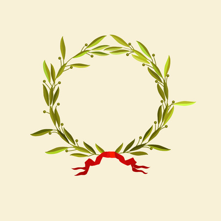 olive wreath: Vector illustration -  laurel wreath with red ribbon Illustration