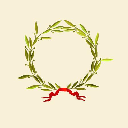 Vector illustration -  laurel wreath with red ribbon Illustration