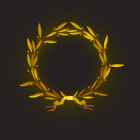 laurel leaf: Vector illustration – gold laurel wreath with ribbon on black background Illustration