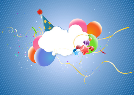 Colorful Party Balloons, Stars, party hat and Confetti - great for Invitation card for birthdays, anniversary and parties. Vector