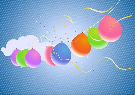 Colorful Party Balloons and Confetti - great for Invitation card for birthdays, anniversary and parties. photo