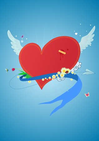 Cool funky red heart flying in the sky. Great for Valentines Day and  postcards  Vector