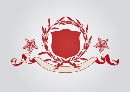 An heraldic shield or badge with stars, blank so you can add your own images.  Vector illustration Vector