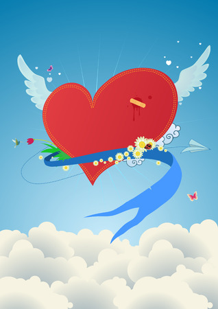 Cool funky red heart flying above the clouds. Great for Valentines Day and  postcards  Vector