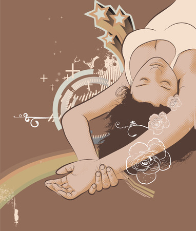 Vector illustration of Beautiful young woman relaxing with closed eyes Vector