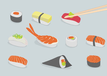 Vector background illustration of various types of sushi, iconic style