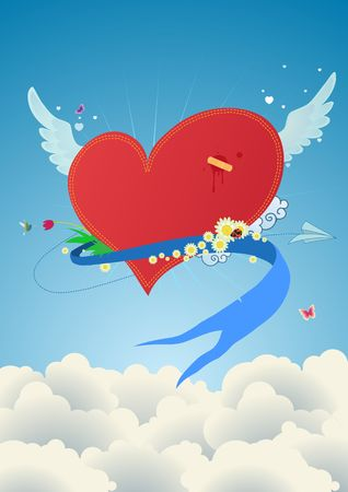 Cool funky red heart flying above the clouds. Great for Valentines Day and wedding postcards  photo