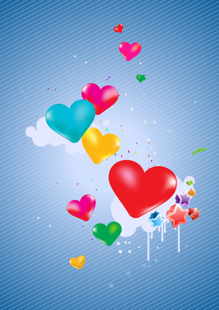 Colorful hearts Background - great for greeting, valentine's day  and birthday postcards, flyers, parties and many more celebration items Vector