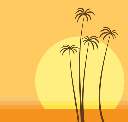 Vector illustration of   the sun is going down over the ocean and the palm beach. Vector