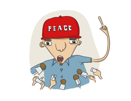 work popular: vector illustration of some funny guy  speaking to press on a peace subject