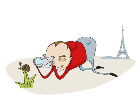 Vector Illustration of Tourist in Paris taking pictures of snail Stock Vector - 3524502