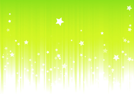 Vector illustration of Green background with light rays and burst of stars