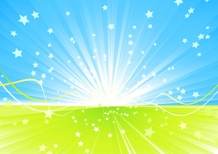 Vector illustration of Shining burst of stars and ribbons on abstract summer background. Vector