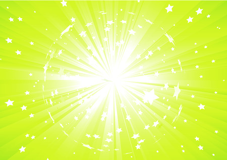 Vector illustration of Green Abstract background with light rays and burst of stars Vector