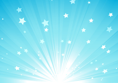sunbeams: Vector illustration of blue Abstract background with light rays and burst of stars