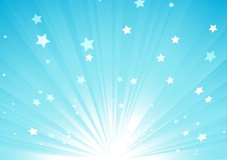 Vector illustration Résumé de bleu sur fond de rayons de lumière et d'éclatement des étoiles