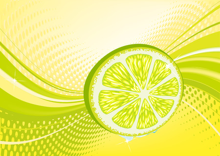 Yellow  abstract fruit background: composition of dots and curved lines - great for backgrounds, or layering over other images Stock Vector - 3577642