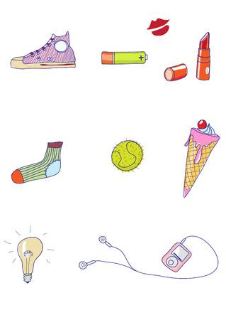 earbud: Conjunto de funky hand-drawn elementos de la vida urbana moderna. Ilustraci�n vectorial