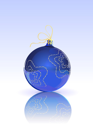 Vector Illustration of blue Christmas Ball decorated with  on blue Background with reflection Vector