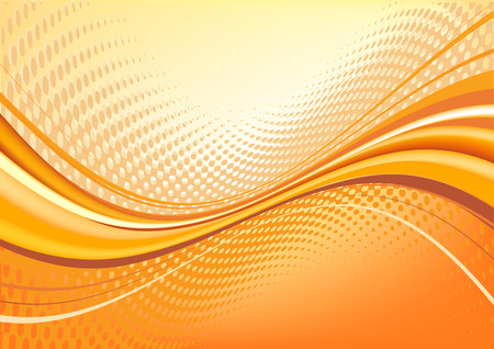 Orange    abstract techno background: composition of dots and curved lines - great for backgrounds, or layering over other images Vector