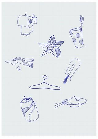 toilet paper art: Set of funky hand-drawn elements of modern urban life. Vector illustration Illustration