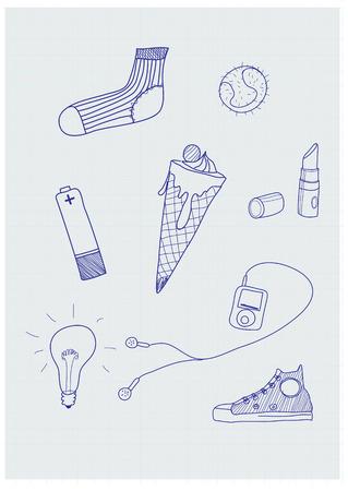 urban life: Set de la mano de funky-elaborado los elementos de la vida urbana moderna. Vector illustration