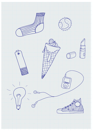 Set of funky hand-drawn elements of modern urban life. Vector illustration Vector