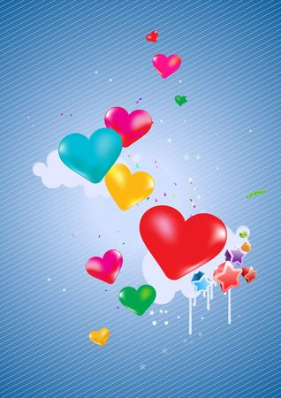 Colorful hearts Background - great for greeting, valentine�s day  and birthday postcards, flyers, parties and many more celebration items photo