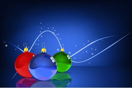 Vector Illustration of three Christmas Balls with reflections on the blue Abstract lines background illustration