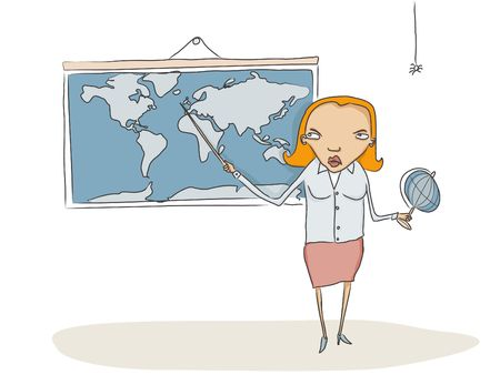 Geography teacher showing something to students on the world map  photo